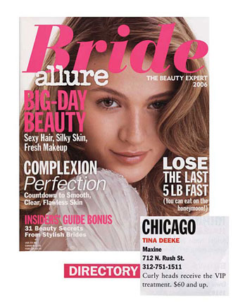 Maxine Salon's Colorist Tina Deeke featured in Allure Bride 2006