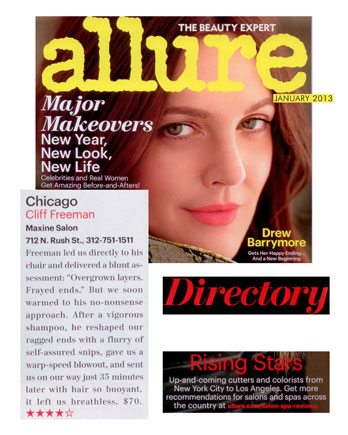 Maxine Salon in Chicago featured in Allure Magazine January 2013