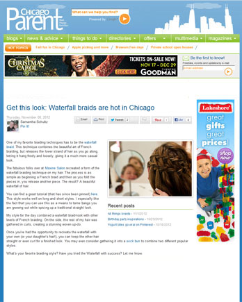 Amy Abramite of Maxine Salon featured in Chicago Parent February 28, 2012