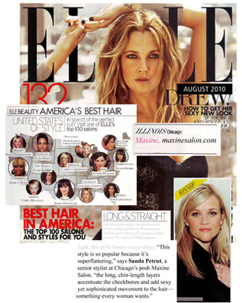 Maxine Salon in Chicago featured in Elle Magazine August 2010