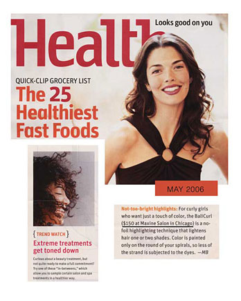 Maxine Salon in Chicago featured in Health Magazine May 2006
