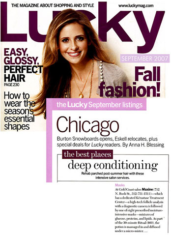 Maxine Salon in Chicago featured in Lucky Magazine September 2007