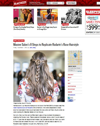 Maxine Salon featured in Racked.com April 13, 2012