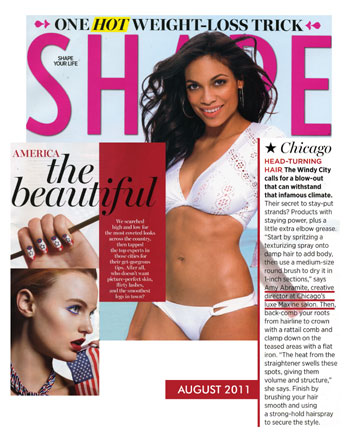 Maxine Salon in Chicago featured in Shape Magazine August 2011