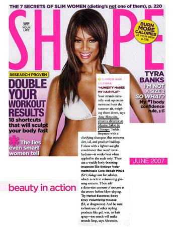 Maxine Salon's Creative Director Amy Abramite featured in Shape Magazine June 2007