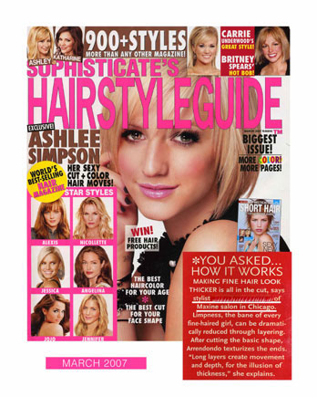 Maxine Salon's stylist featured in Sophisticates Hairstyle Guide March 2007