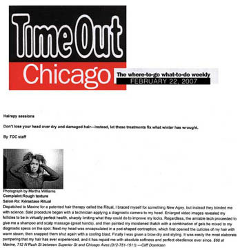Maxine Salon in Chicago Featured in TimeOut Chicago February 2007