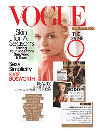 Maxine Salon's colorist Sarah Kochan featured in Vogue Magazine February 2008