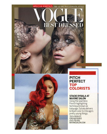Maxine Top Colorist Stacie Dybala featured in Vogue Magazine November 2011