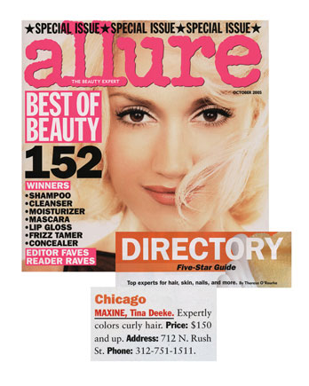 Maxine Salon's Colorist Tina Deeke featured in Allure Magazine October 2005