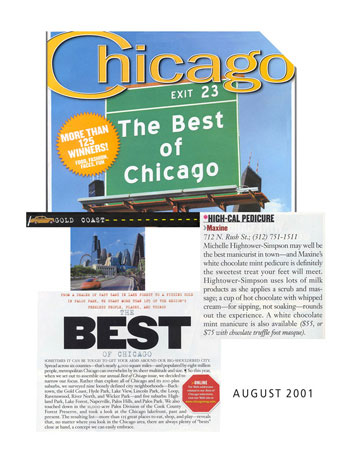 Maxine Salon in Chicago featured in Chicago Magazine August 2001