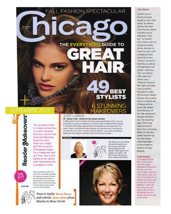 Maxine Salon's Jasen James and Becca Panos featured in Chicago Magazine December 2011