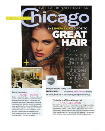 Maxine Salon's Robert Bennett, Becca Panos and Michelle Dixon featured in Chicago Magazine September 2011