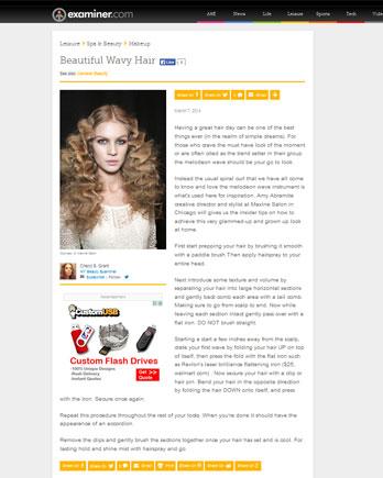 Maxine Salon featured in Examiner.com March 7, 2014