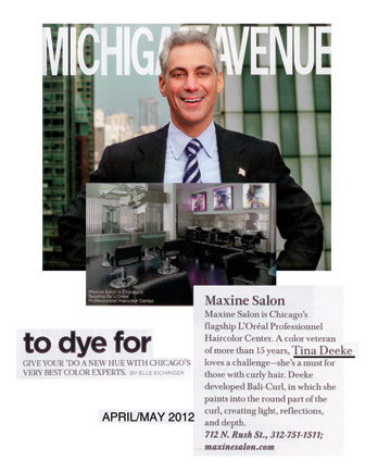 Maxine Salon featured in Michigan Avenue Magazine April 2012