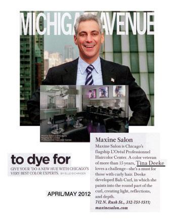 Maxine Salon featured in Michigan Avenue Magazine April 2012