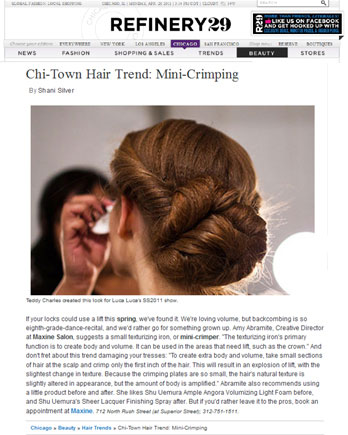 Maxine Salon's Creative Director Amy Abramite featured in Refinery29 April 22, 2011