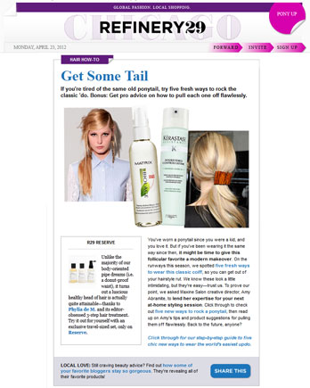 Maxine Salon's Creative Director Amy Abramite featured in Refinery29 April 23, 2012