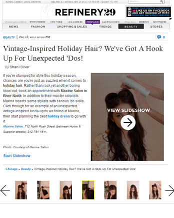 Maxine Salon featured in Refinery29 December 18, 2011
