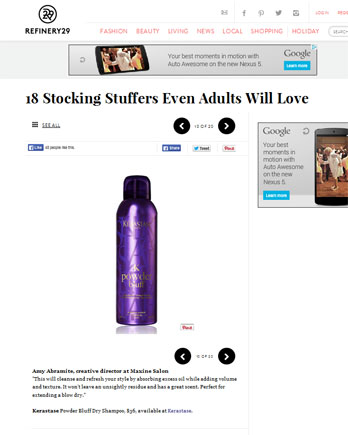 Maxine Salon featured in Refinery29 December 18, 2013