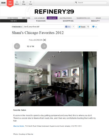 Maxine Salon featured in Refinery29 June 8, 2012