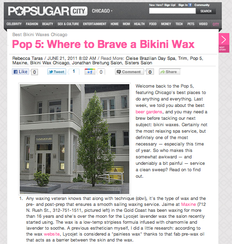 Maxine Salon's Jaime Lewis Featured in PopSugar's Best Bikini Waxes in Chicago