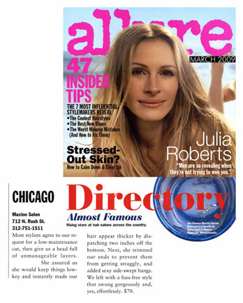 Maxine Salon in Chicago featured in Allure Magazine March 2009