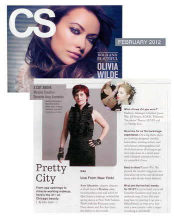Amy Abramite, Creative Director of Maxine Salon in Chicago featured in Chicago Social February 2012