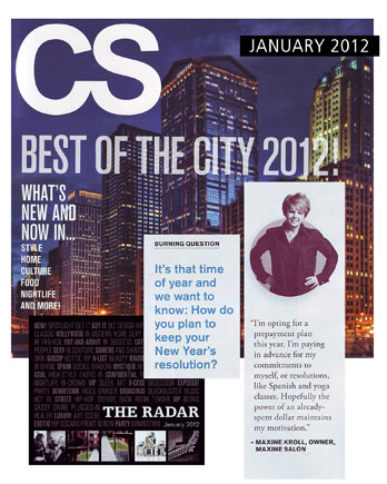 Maxine Salon in Chicago featured in Chicago Social January 2012