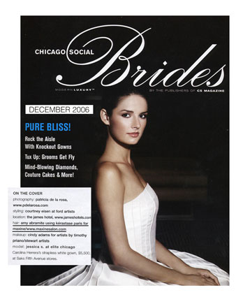 Maxine Salon Chicago featured in Chciago Social Brides December 2006
