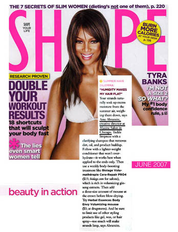 Maxine Salon's Creative Director Amy Abramite featured in Shape Magazine June 2007