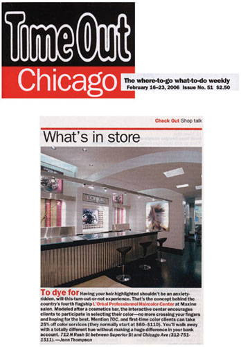 Maxine Salon featured in TimeOut Chicago February 2006