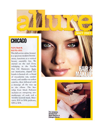 Maxine Salon in Chicago Featured in Allure Magazine May 2001