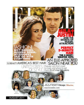 Maxine Salon in Chicago featured in Elle Magazine August 2011