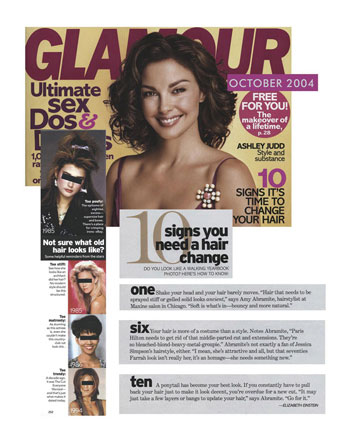Maxine Salon featured in Glamour Magazine October 2004