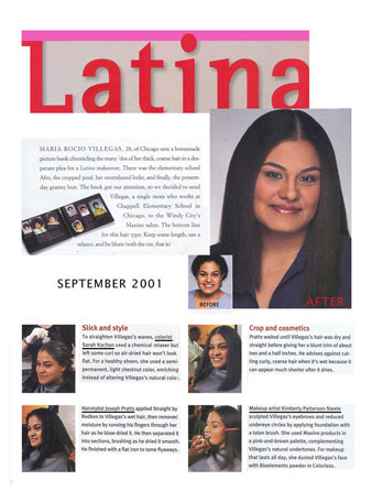 Maxine Salon featured in Latina Magazine September 2001