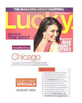 Maxine Salon featured in Lucky Magazine August 2002