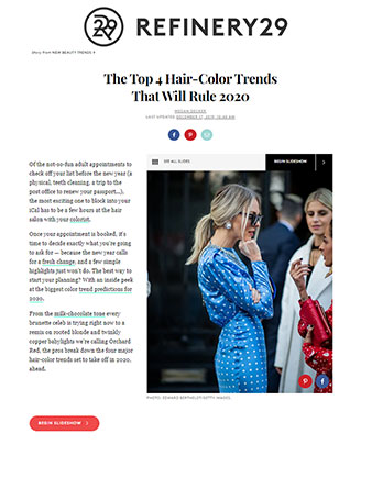 Maxine Salon featured in Refinery29 December 17, 2019