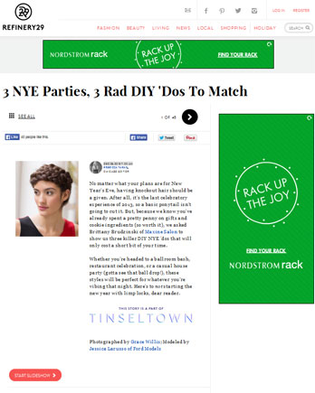 Maxine Salon featured in Refinery29 December 23, 2013